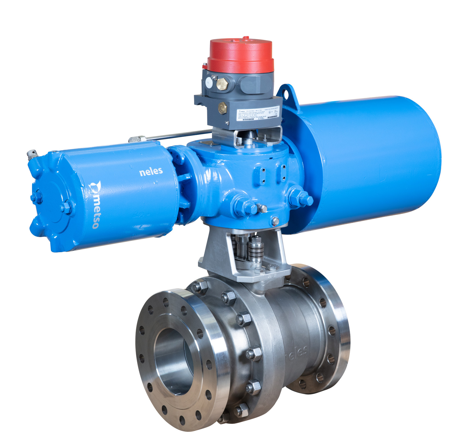 Neles X-series ball valve with N1 series high performance heavy duty Neles Scotch-Yoke actuator and Neles ValvGuard VG9000 safety solenoid.Neles X-series ball valve with N1 series high performance heavy duty Neles Scotch-Yoke actuator and Neles ValvGuard VG9000 safety solenoid.